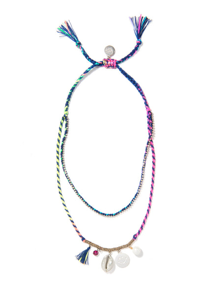 FUN AT THE BEACH NECKLACE (BLUE RAINBOW)