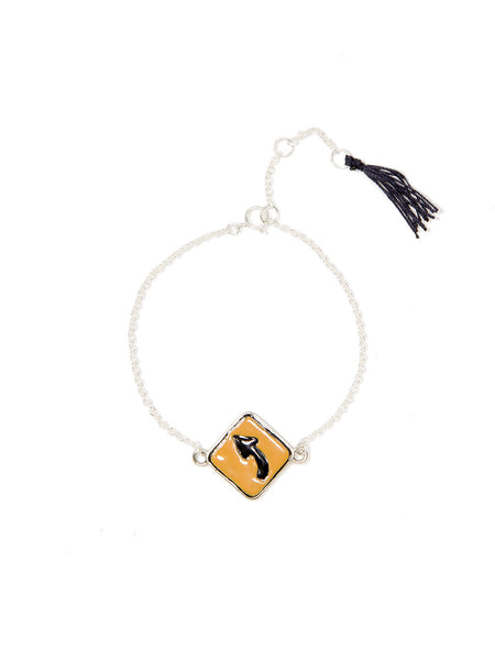 LEFT TURN SIGN PENDANT BRACELET