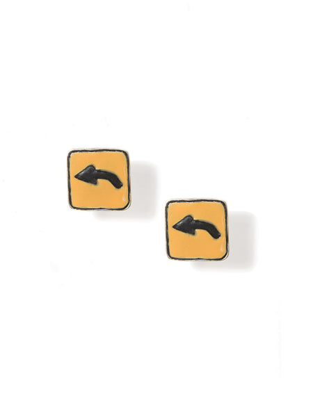 LEFT TURN SIGN EARRINGS