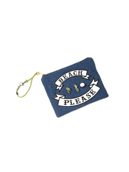 BEACH PLEASE CLUTCH BAG
