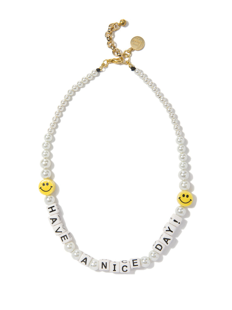 HAVE A NICE DAY PEARL NECKLACE NECKLACE - Venessa Arizaga