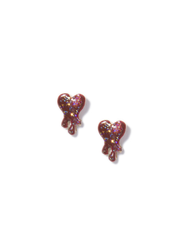 LITTLE ACID HEART EARRINGS (RED) - Venessa Arizaga