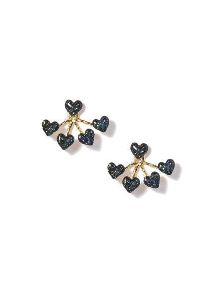 HEART 4-PRONG EARRINGS (BLACK)