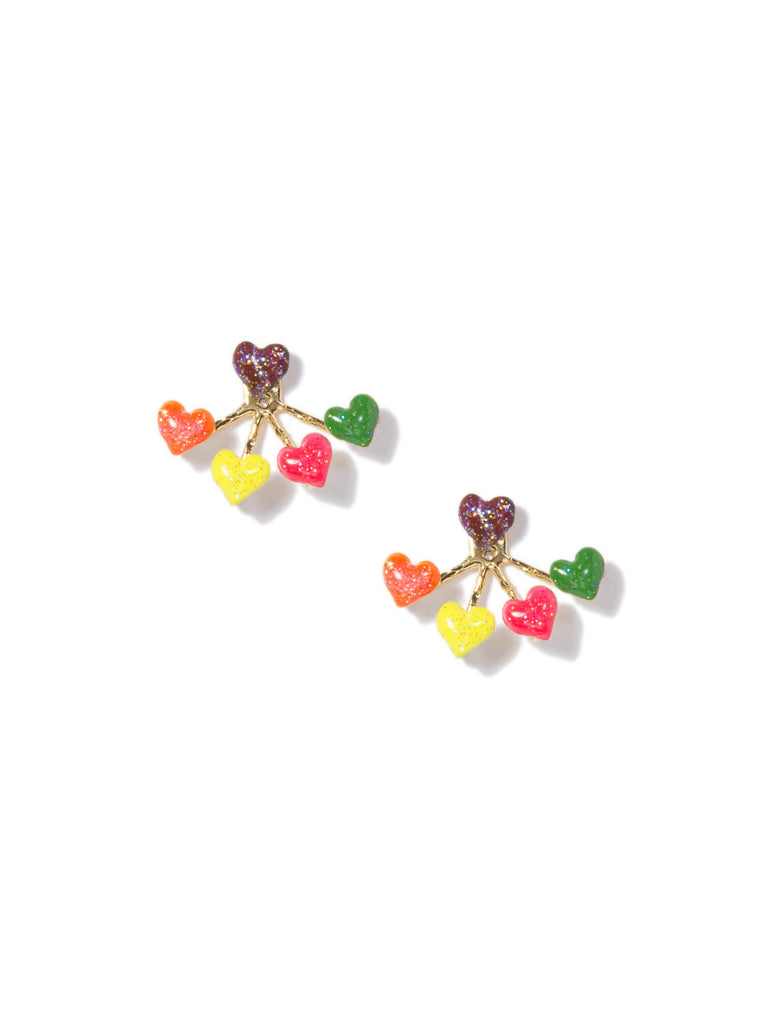 HEART 4-PRONG EARRINGS (RAINBOW) - Venessa Arizaga