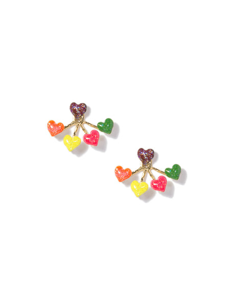 HEART 4-PRONG EARRINGS (RAINBOW)
