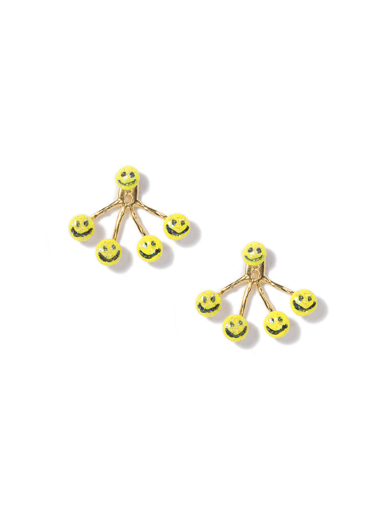 HAVE A NICE DAY 4-PRONG EARRINGS (YELLOW) - Venessa Arizaga