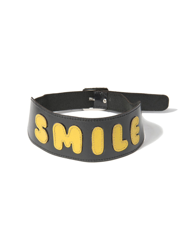 SMILE LEATHER CHOKER NECKLACE - Venessa Arizaga