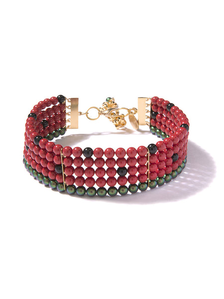 ONE IN A MELON PEARL CHOKER (RED)