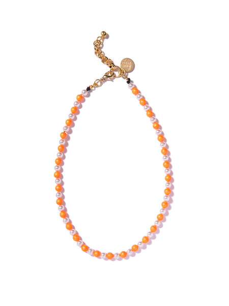 SUGAR COATED PEARL NECKLACE (ORANGE)