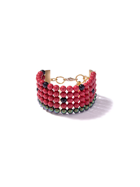ONE IN A MELON PEARL BRACELET (RED)