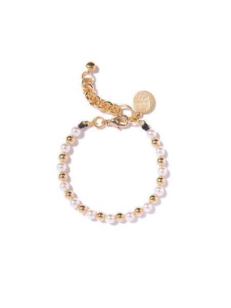 SUGAR COATED PEARL BRACELET (GOLD)