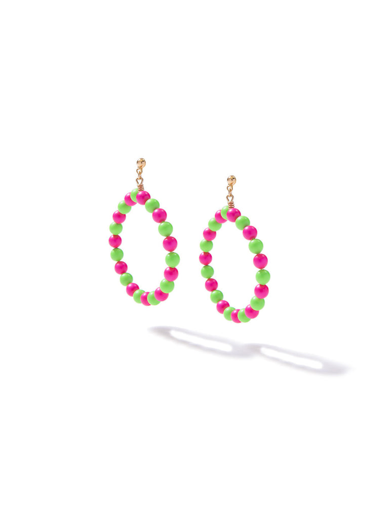 SUGAR COATED PEARL EARRINGS (PINK AND GREEN)