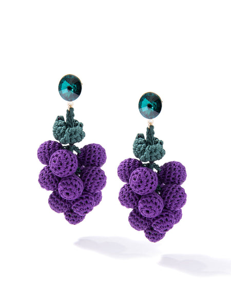 HAVE A GRAPE DAY EARRINGS (PURPLE)