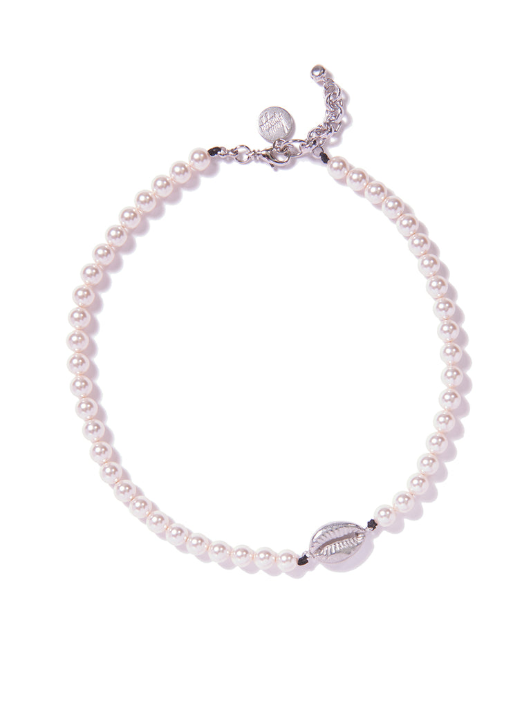 SHELLFIE PEARL NECKLACE (SILVER)