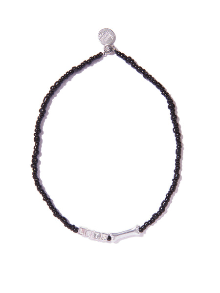 LET$ BONE NECKLACE (BLACK AND SILVER)