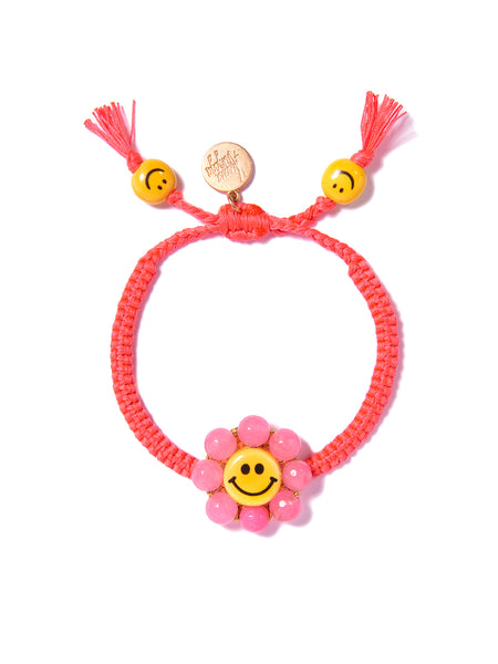 HAPPY FLOWER BRACELET (NEON PINK)