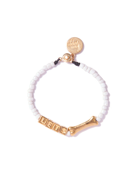 LET$ BONE BRACELET (WHITE AND GOLD)
