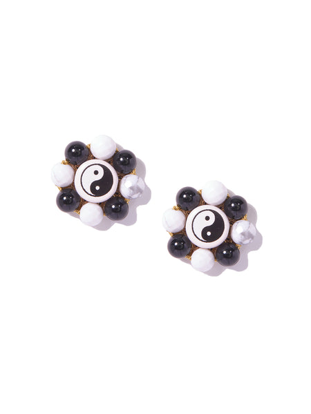 YIN YANG FLOWER EARRINGS