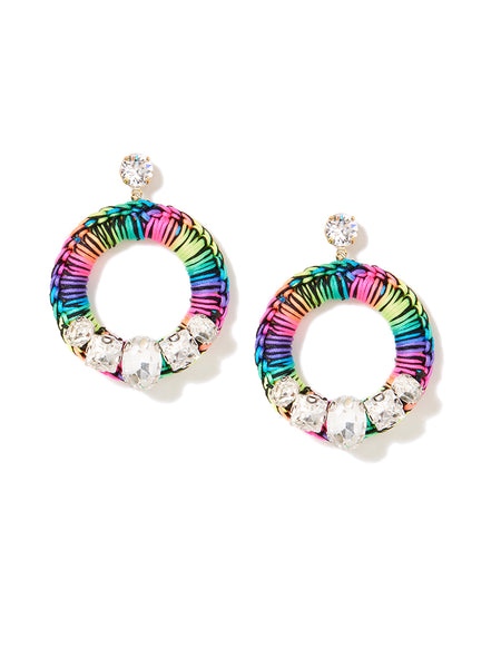 CRYSTAL HALO EARRINGS (RAINBOW)
