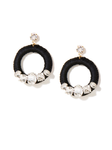 CRYSTAL HALO EARRINGS (BLACK)