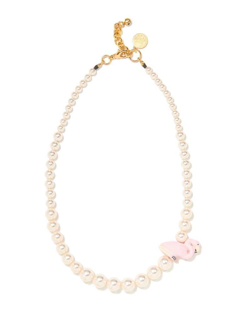 PRETTY PINK FLAMINGO PEARL NECKLACE