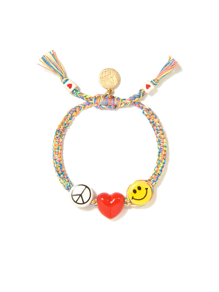 PEACE, LOVE, AND HAPPINESS BRACELET (RAINBOW)