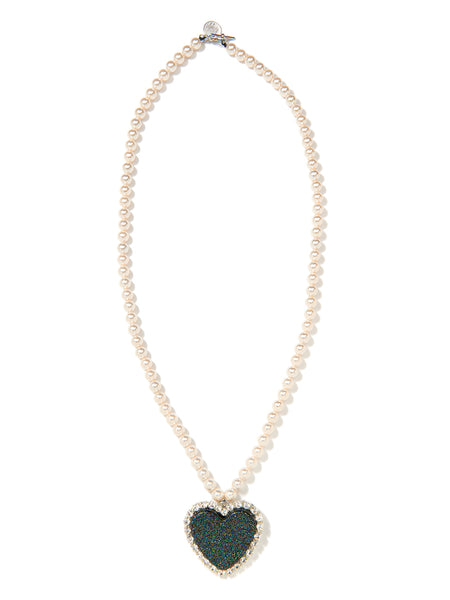 GLITTER HEART PEARL NECKLACE (BLACK)
