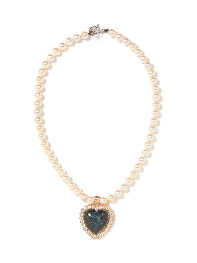 SHOW ME LOVE PEARL NEKCLACE (BLACK)