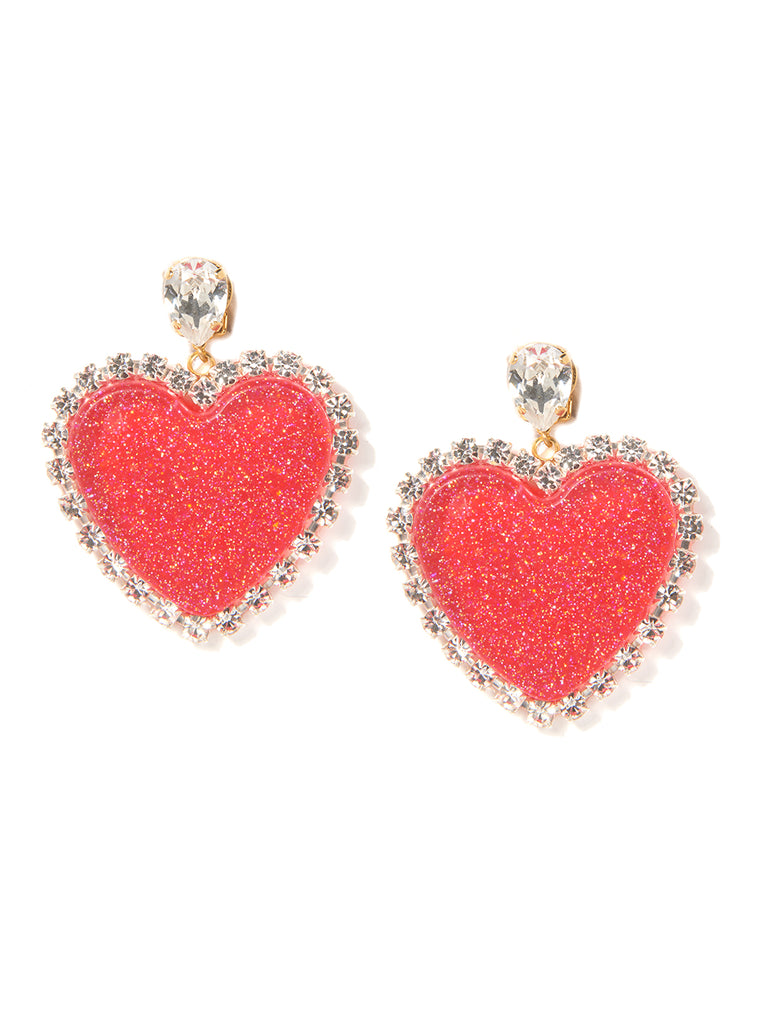 GLITTER HEART EARRINGS (RED)