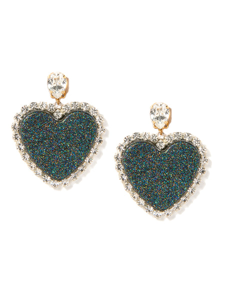 GLITTER HEART EARRINGS (BLACK)