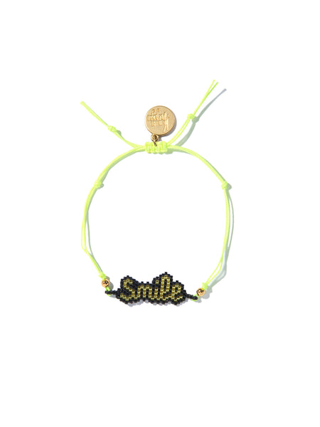 SMILE BEADED BRACELET (NEON YELLOW)