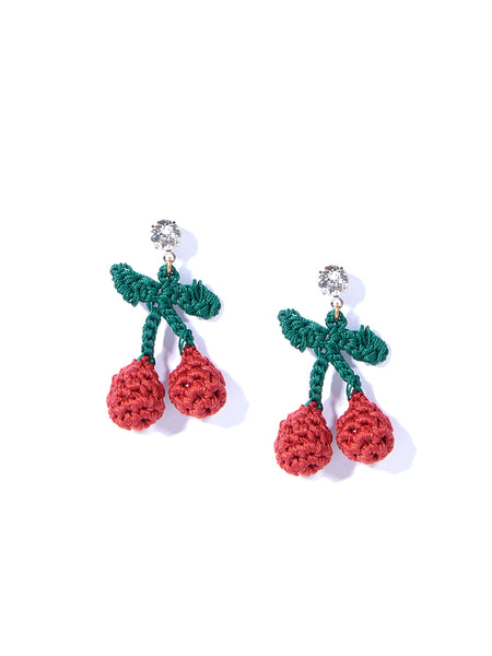 MINI CHERRY PICKING EARRINGS (RED)