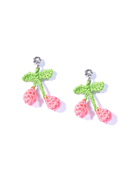MINI CHERRY PICKING EARRINGS (PINK)