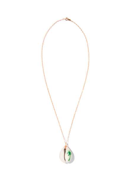 PALM TREE SHELL NECKLACE (GREEN)