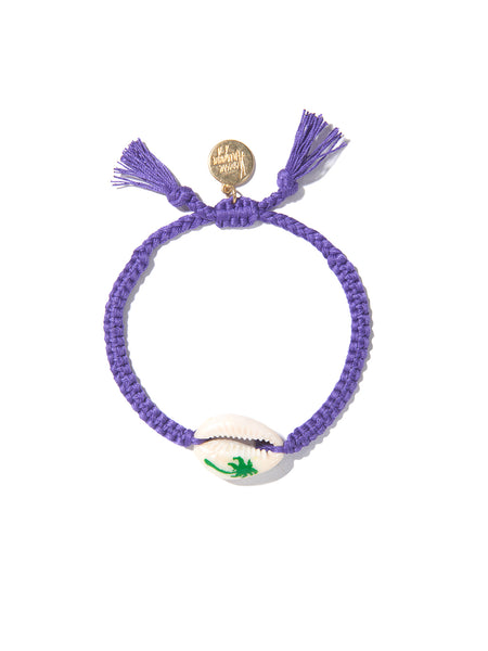 PALM TREE SHELL BRACELET (GREEN AND PURPLE)