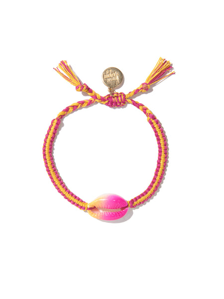 TIE DYE SHELL BRACELET (PINK AND YELLOW)
