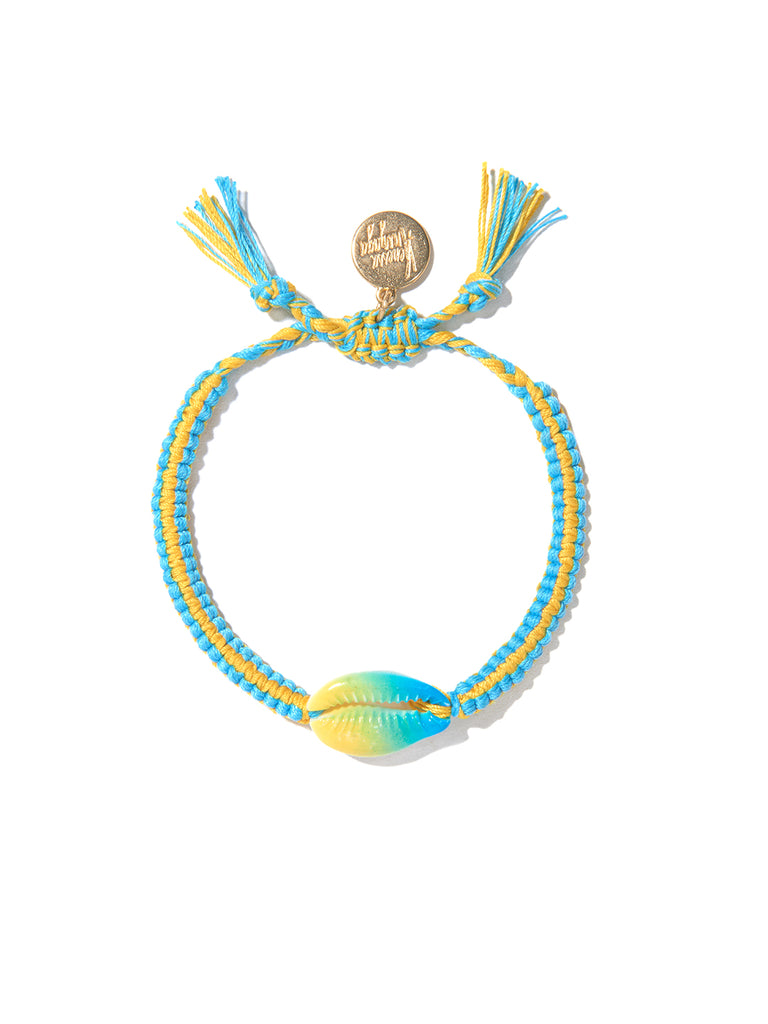 TIE DYE SHELL BRACELET (BLUE AND YELLOW)