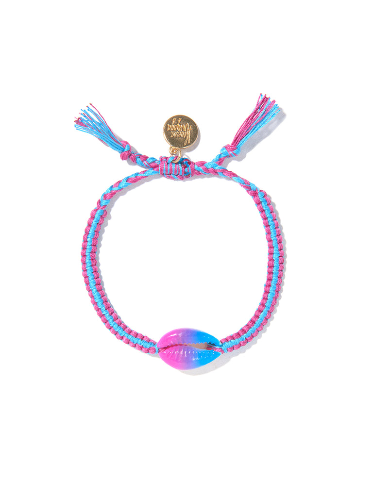 TIE DYE SHELL BRACELET (BLUE AND PURPLE)