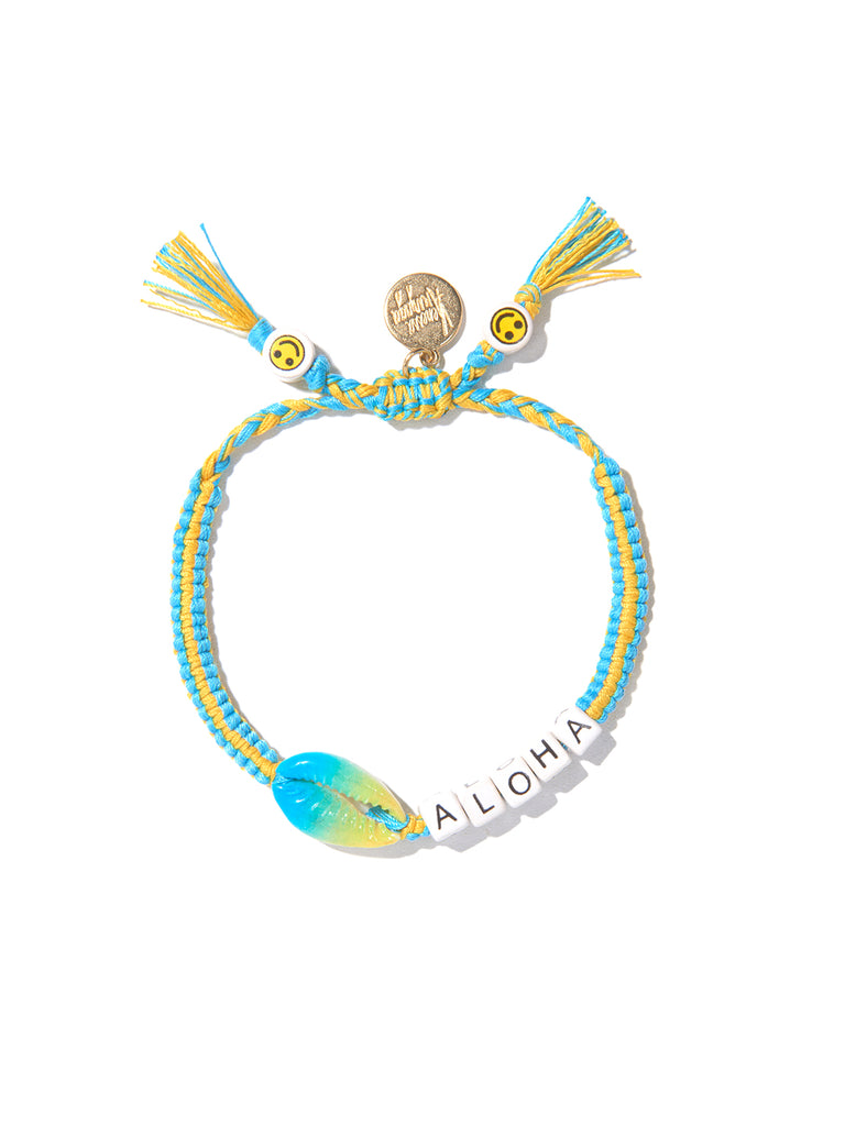 ALOHA SHELL BRACELET (BLUE AND YELLOW)