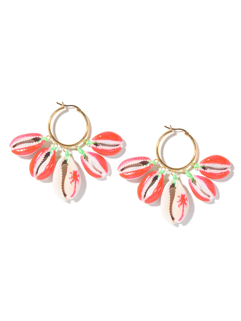 PALM TREE SHELL EARRINGS (NEON PINK AND GREEN)