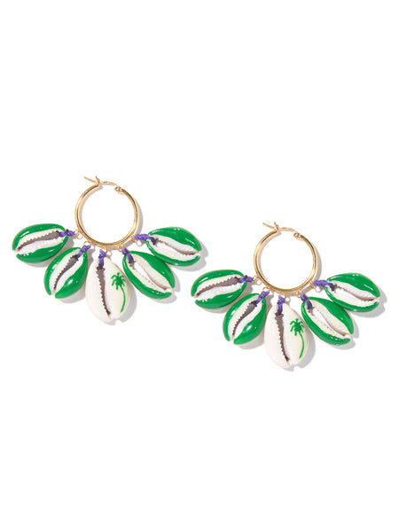 PALM TREE SHELL EARRINGS (GREEN AND PURPLE)