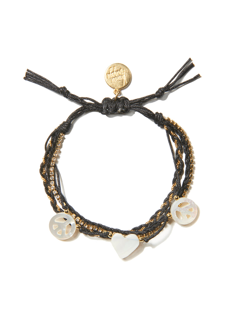 PEACE AND LOVE BRACELET (BLACK)