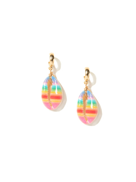 RAINBOW STRIPE SHELL EARRINGS