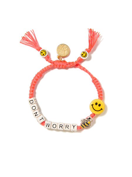 DON'T WORRY BEE HAPPY BRACELET (CORAL)