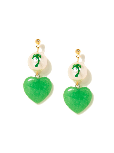 STONE HEART EARRINGS (GREEN)
