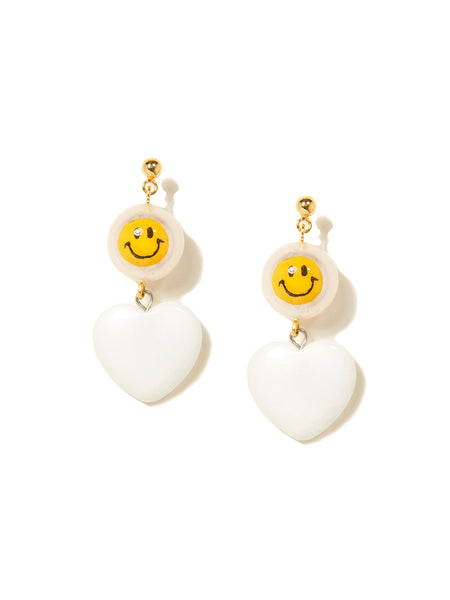 STONE HEART EARRINGS (WHITE)