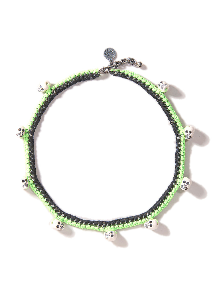 HEADS WILL ROLL NECKLACE (NEON GREEN)