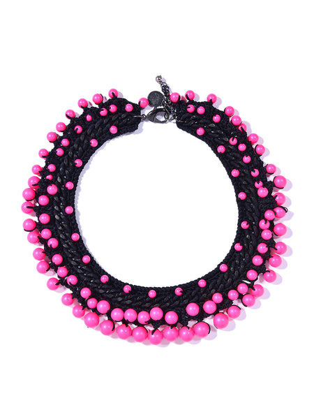 DISCO PEARLS NECKLACE (BLACK AND PINK)