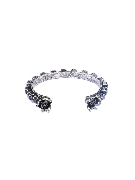 RHINESTONE FLOWER CUFF (JET/ANTIQUE SILVER)