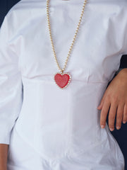 GLITTER HEART PEARL NECKLACE (RED)
